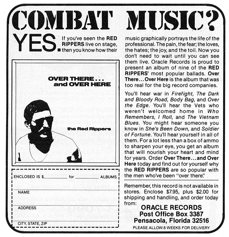 An advertisement for the Red Rippers LP that appeared in the October through December 1983 issues of Soldier of Fortune magazine.